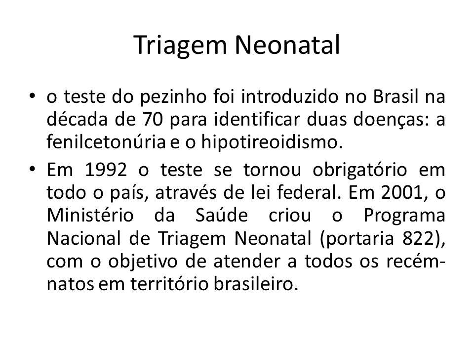 Triagem Neonatal o teste do pezinho foi introduzido no Brasil na década de 70 para identificar duas doenças: a fenilcetonúria e o hipotireoidismo. Em