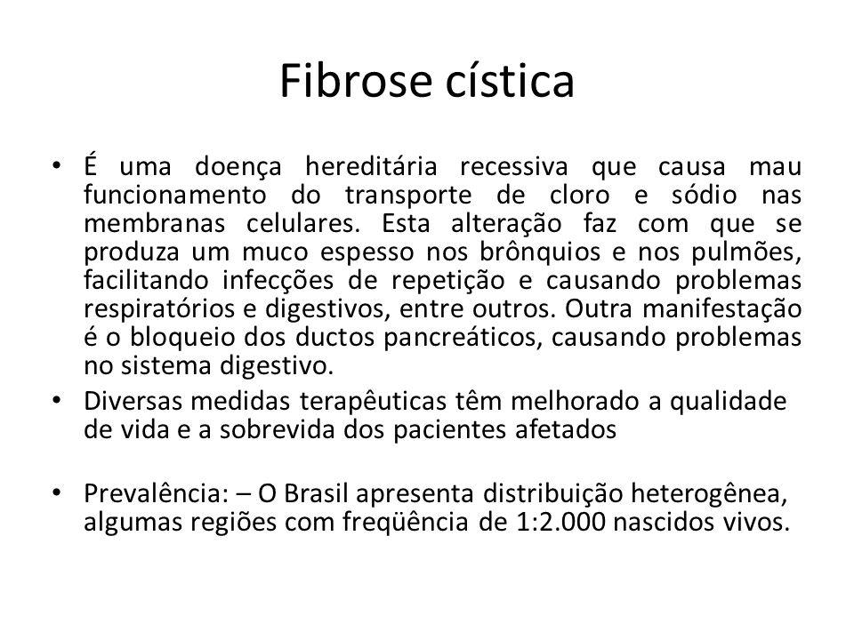 Fibrose cística É uma doença hereditária recessiva que causa mau funcionamento do transporte de cloro e sódio nas membranas celulares. Esta alteração