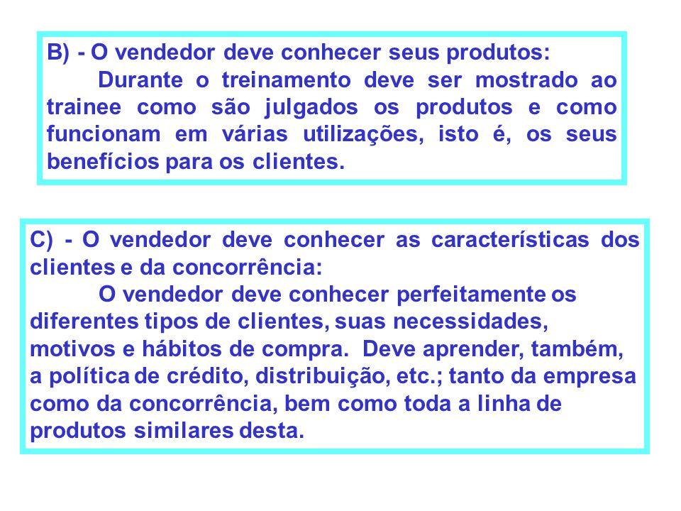 B) - O vendedor deve conhecer seus produtos: Durante o treinamento deve ser mostrado ao trainee como são julgados os produtos e como funcionam em vári
