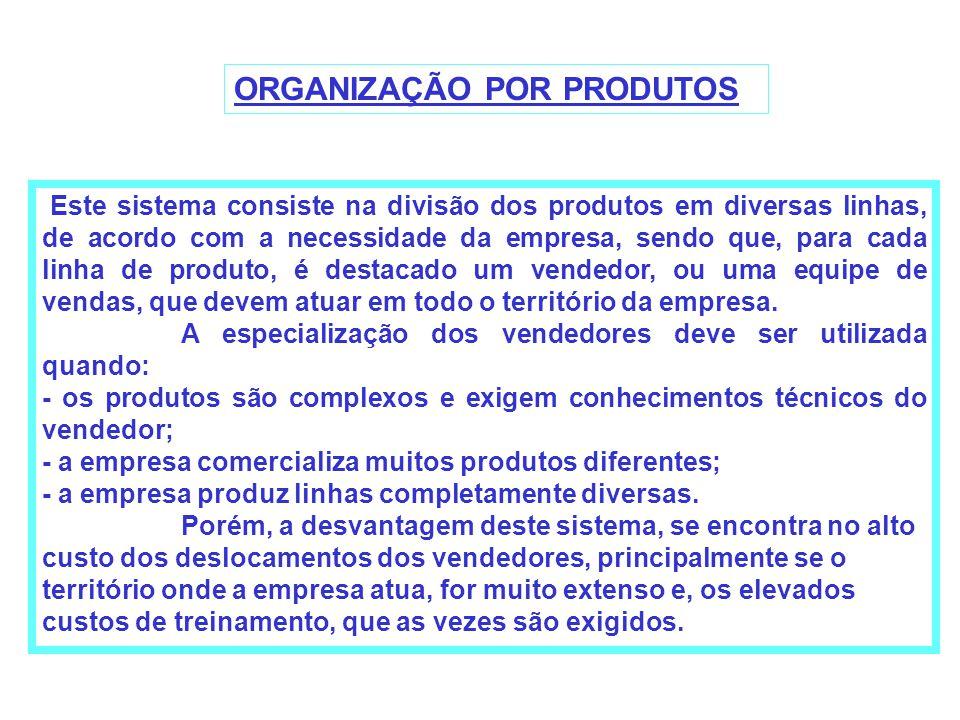 ORGANIZAÇÃO POR PRODUTOS Este sistema consiste na divisão dos produtos em diversas linhas, de acordo com a necessidade da empresa, sendo que, para cad