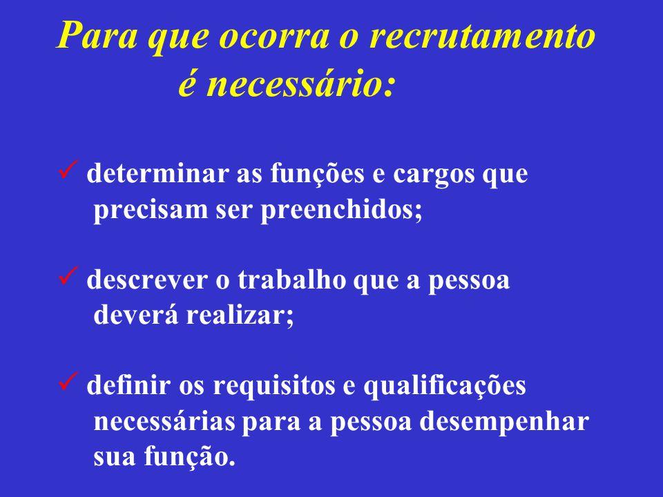 Para que ocorra o recrutamento é necessário:  determinar as funções e cargos que precisam ser preenchidos;  descrever o trabalho que a pessoa deverá