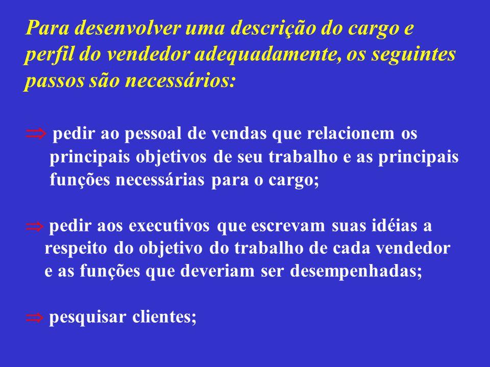 Para desenvolver uma descrição do cargo e perfil do vendedor adequadamente, os seguintes passos são necessários:  pedir ao pessoal de vendas que rela