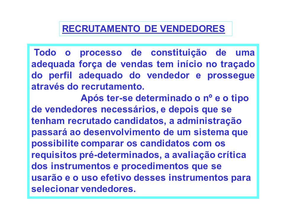 RECRUTAMENTO DE VENDEDORES Todo o processo de constituição de uma adequada força de vendas tem início no traçado do perfil adequado do vendedor e pros