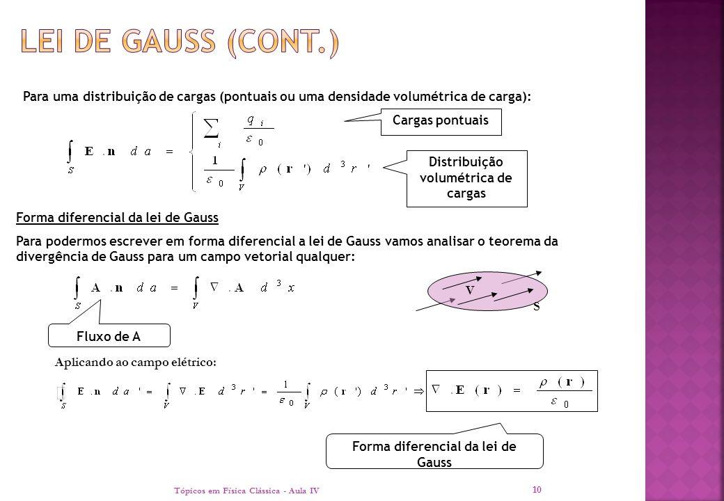 Tópicos em Física Clássica - Aula IV 10 Para uma distribuição de cargas (pontuais ou uma densidade volumétrica de carga): Cargas pontuais Distribuição