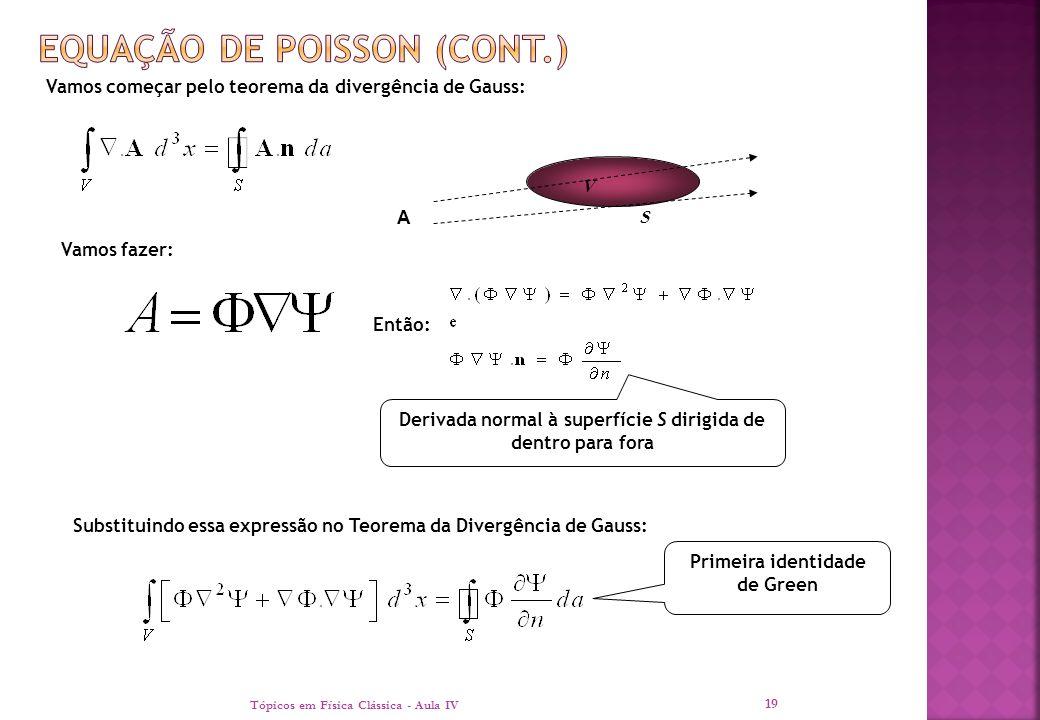 Tópicos em Física Clássica - Aula IV 19 Vamos começar pelo teorema da divergência de Gauss: S V A Vamos fazer: Então: Derivada normal à superfície S d