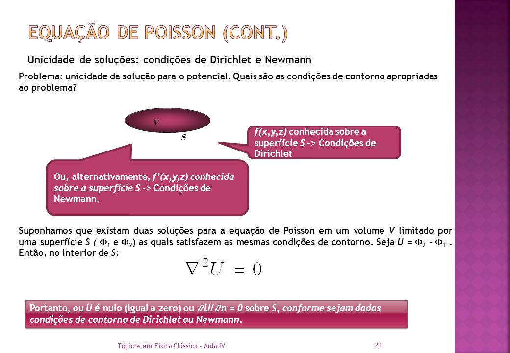 Tópicos em Física Clássica - Aula IV 22 Unicidade de soluções: condições de Dirichlet e Newmann Problema: unicidade da solução para o potencial. Quais