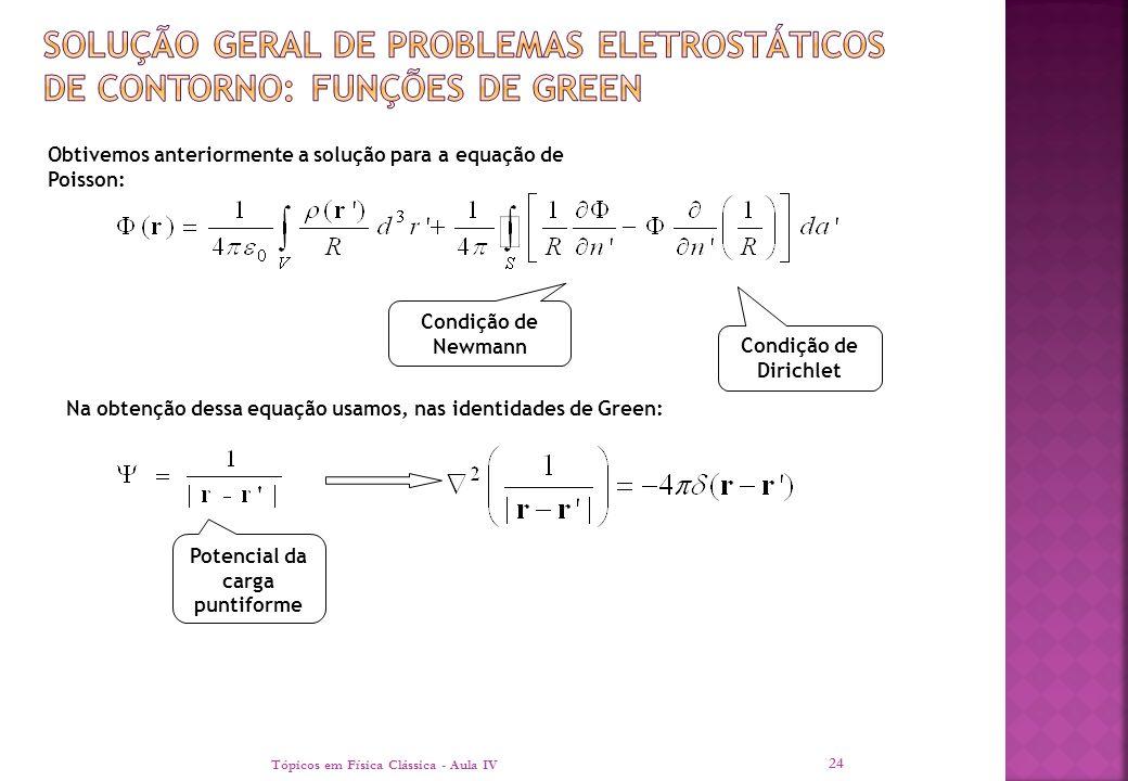 Tópicos em Física Clássica - Aula IV 24 Obtivemos anteriormente a solução para a equação de Poisson: Condição de Newmann Condição de Dirichlet Na obte
