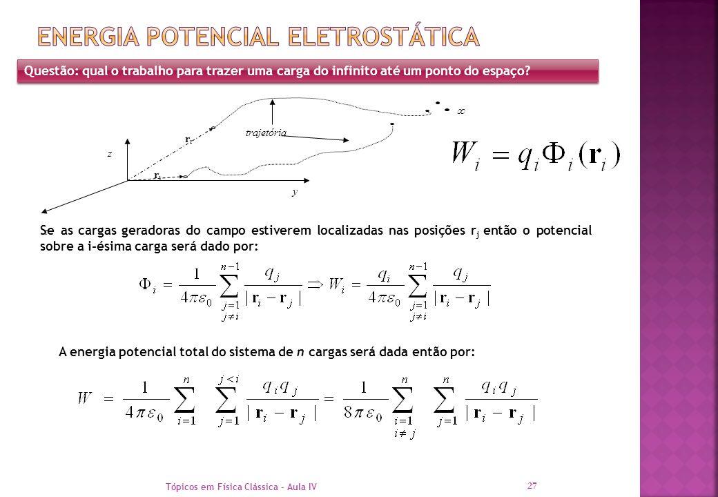 Tópicos em Física Clássica - Aula IV 27 Questão: qual o trabalho para trazer uma carga do infinito até um ponto do espaço? x z y  trajetória r1r1 r2r