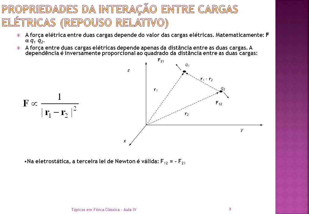  A força elétrica entre duas cargas depende do valor das cargas elétricas. Matematicamente: F  q 1 q 2.  A força entre duas cargas elétricas depend