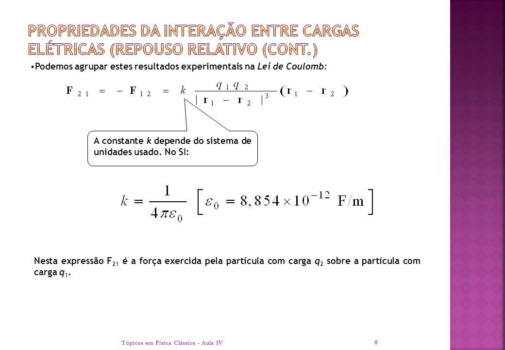 Tópicos em Física Clássica - Aula IV 6 Nesta expressão F 21 é a força exercida pela partícula com carga q 2 sobre a partícula com carga q 1. A constan