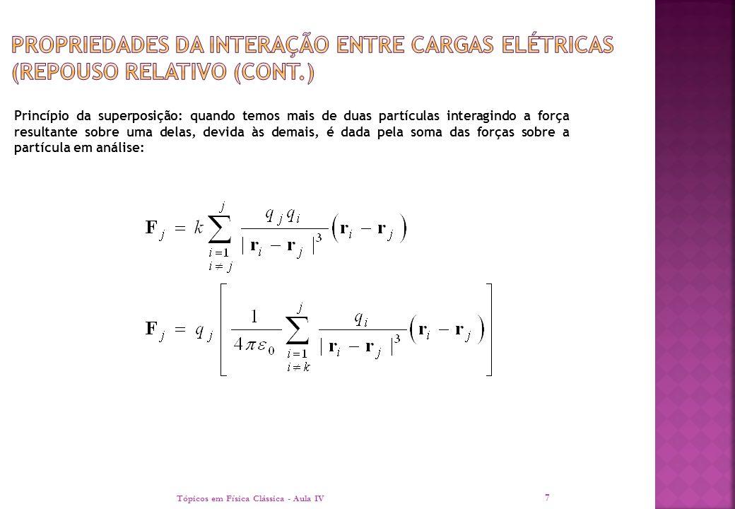  No caso de termos distribuições de cargas não pontuais, a soma deve ser transposta para uma integral sobre a densidade de carga: Tópicos em Física Clássica - Aula IV 8 O conceito de campo: ao invés de falarmos da força sobre uma partícula podemos falar sobre a força por unidade de carga da partícula campo.