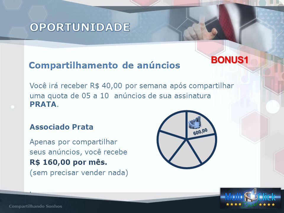 Você irá receber R$ 40,00 por semana após compartilhar uma quota de 05 a 10 anúncios de sua assinatura PRATA.