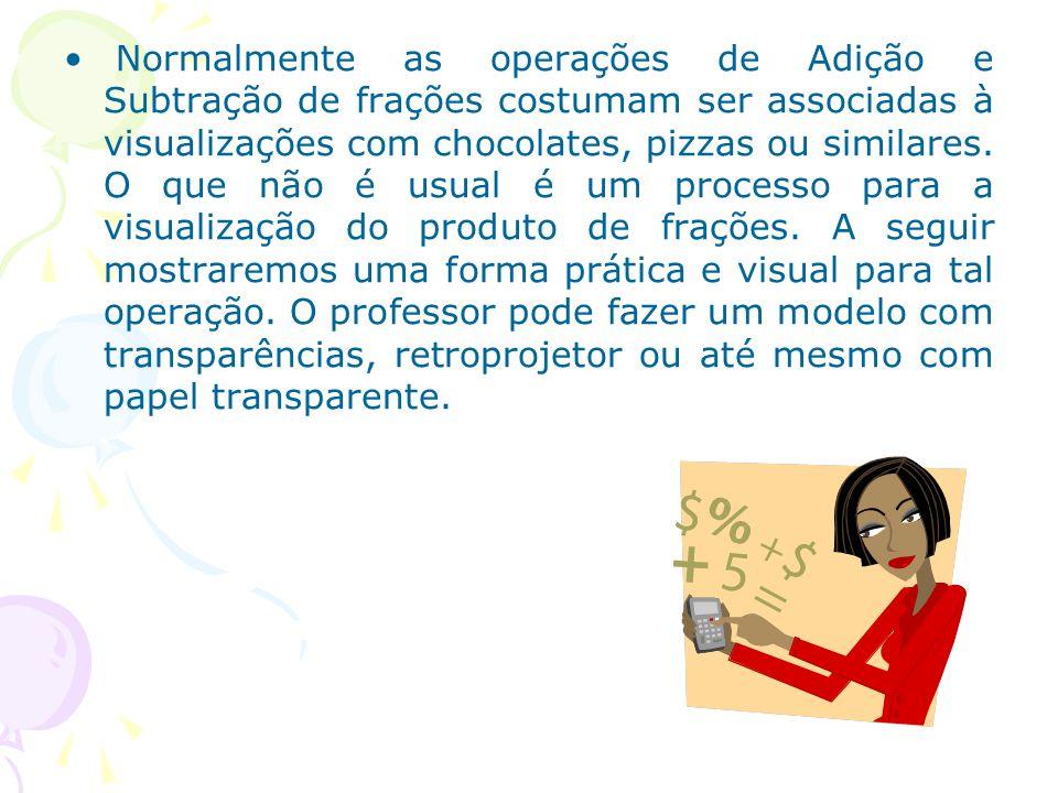 Normalmente as operações de Adição e Subtração de frações costumam ser associadas à visualizações com chocolates, pizzas ou similares. O que não é usu