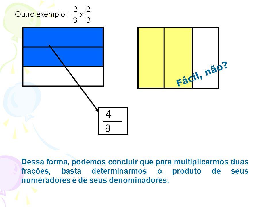 Dessa forma, podemos concluir que para multiplicarmos duas frações, basta determinarmos o produto de seus numeradores e de seus denominadores. Fácil,