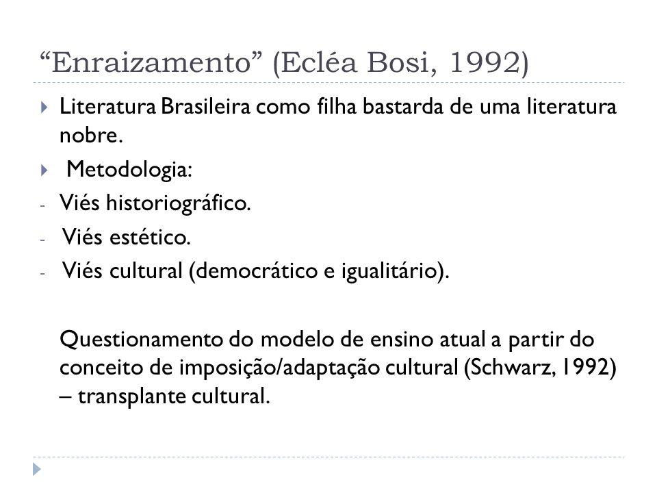 Enraizamento (Ecléa Bosi, 1992)  Literatura Brasileira como filha bastarda de uma literatura nobre.