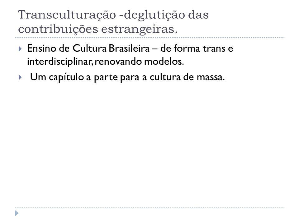 Transculturação -deglutição das contribuições estrangeiras.