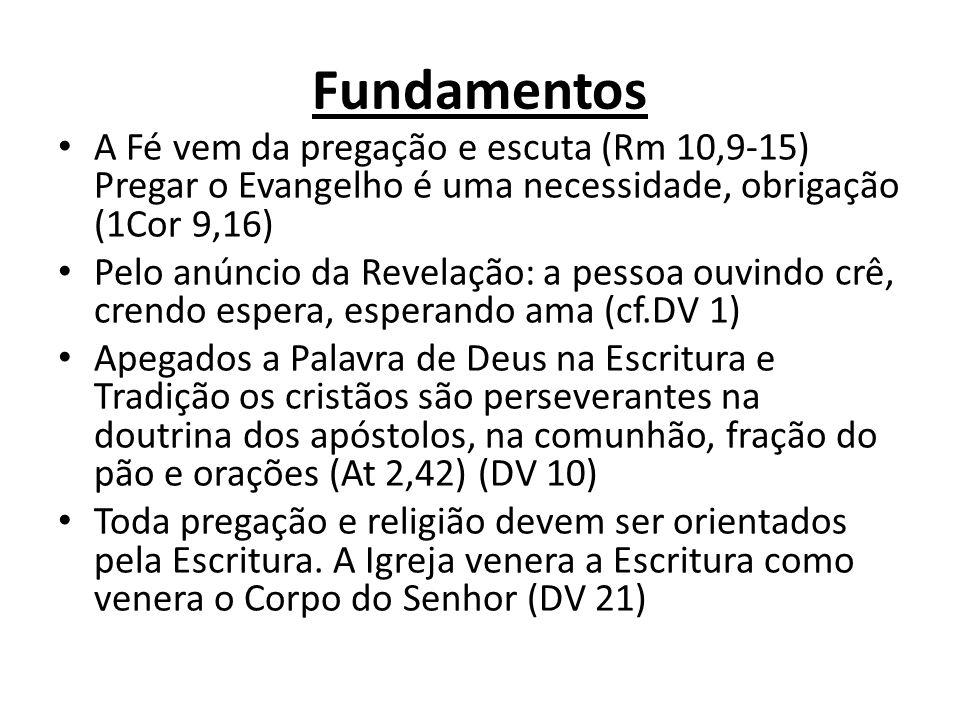 Fundamentos A Fé vem da pregação e escuta (Rm 10,9-15) Pregar o Evangelho é uma necessidade, obrigação (1Cor 9,16) Pelo anúncio da Revelação: a pessoa ouvindo crê, crendo espera, esperando ama (cf.DV 1) Apegados a Palavra de Deus na Escritura e Tradição os cristãos são perseverantes na doutrina dos apóstolos, na comunhão, fração do pão e orações (At 2,42) (DV 10) Toda pregação e religião devem ser orientados pela Escritura.