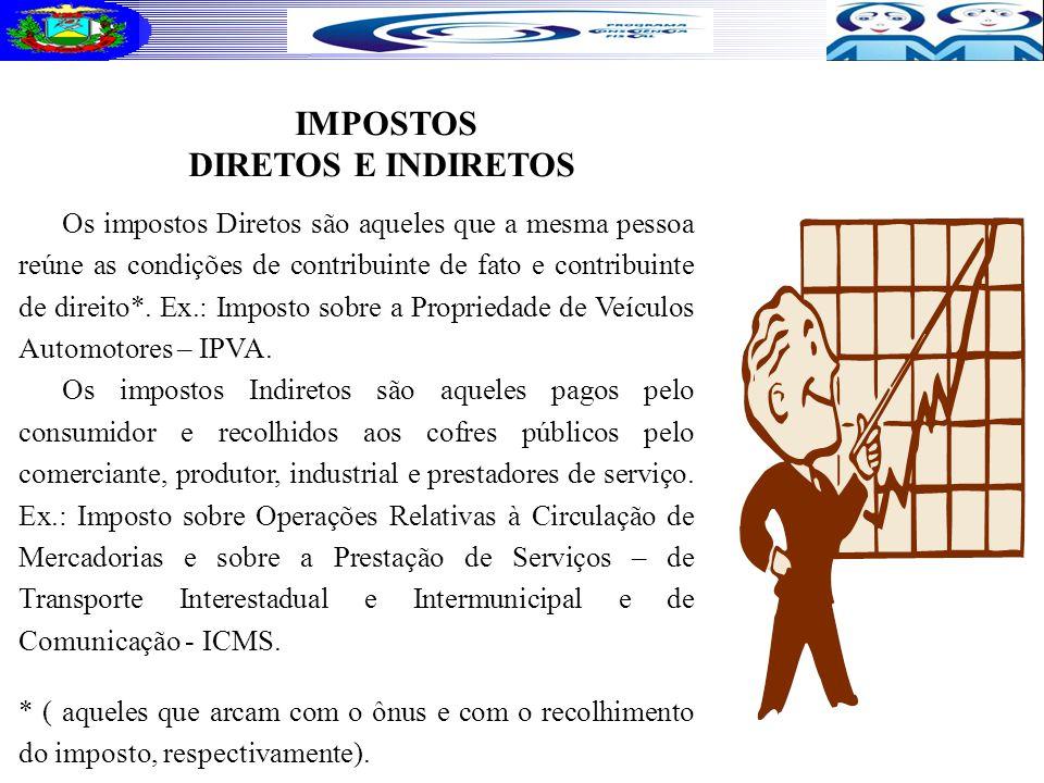 IMPOSTOS DIRETOS E INDIRETOS Os impostos Diretos são aqueles que a mesma pessoa reúne as condições de contribuinte de fato e contribuinte de direito*.