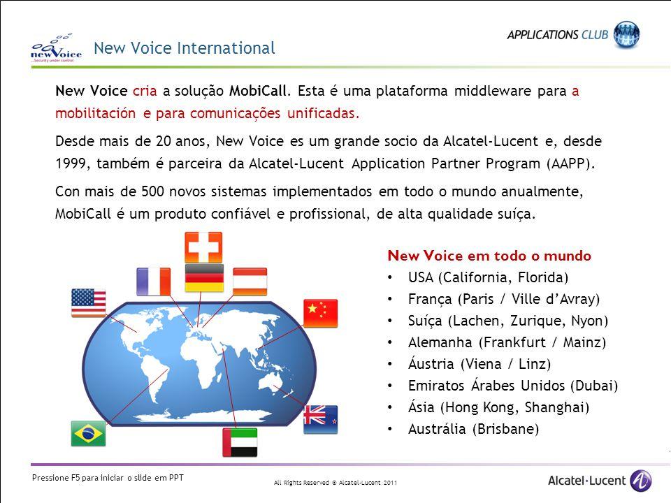 All Rights Reserved © Alcatel-Lucent 2011 A solução e exemplos de operação Wifi Localização Chamada vocal Pager SMS Motor de posicionamento A solução da marca Ekahau, utilizada em ligação com MobiCall, oferece: Segurança e proteção A equipe pode ser equipado com um botão de pânico portátil.