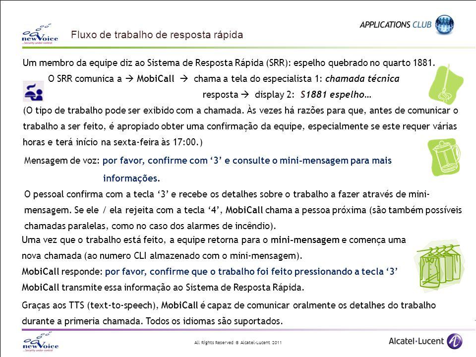 All Rights Reserved © Alcatel-Lucent 2011 Um membro da equipe diz ao Sistema de Resposta Rápida (SRR): espelho quebrado no quarto 1881. O SRR comunica