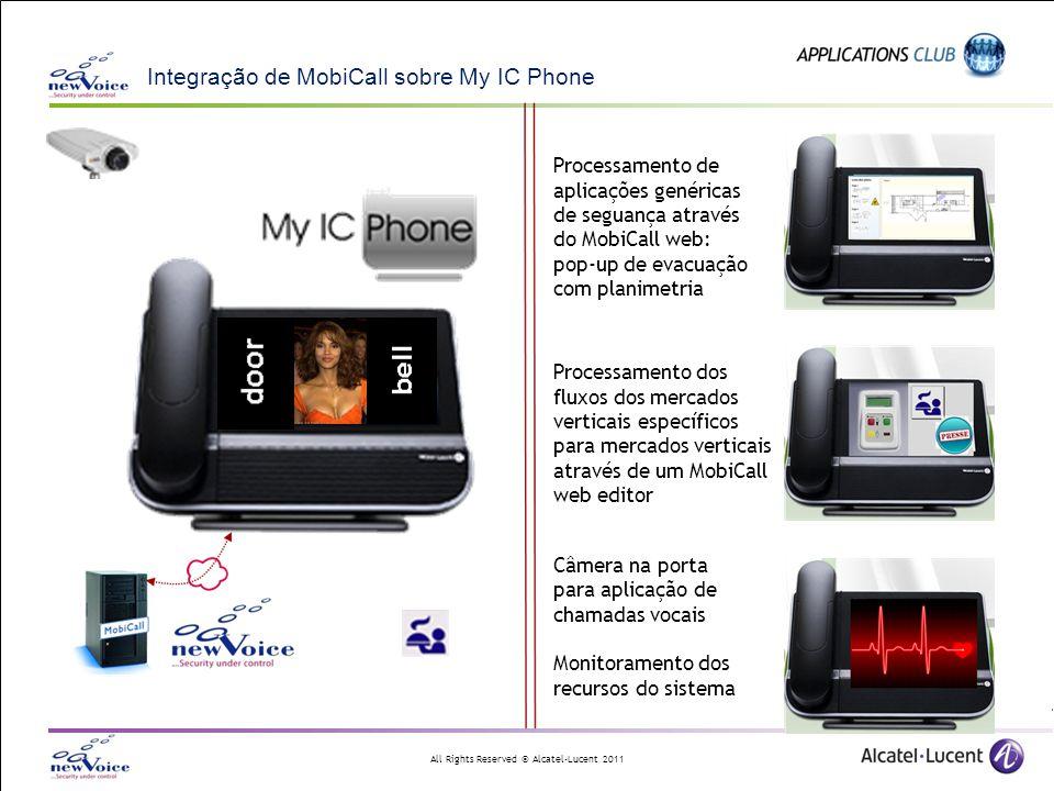 All Rights Reserved © Alcatel-Lucent 2011 Integração de MobiCall sobre My IC Phone Processamento de aplicações genéricas de seguança através do MobiCa