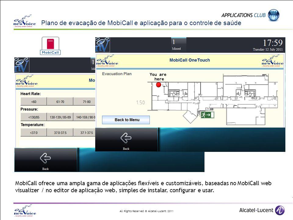All Rights Reserved © Alcatel-Lucent 2011 Plano de evacação de MobiCall e aplicação para o controle de saúde MobiCall ofrece uma ampla gama de aplicaç