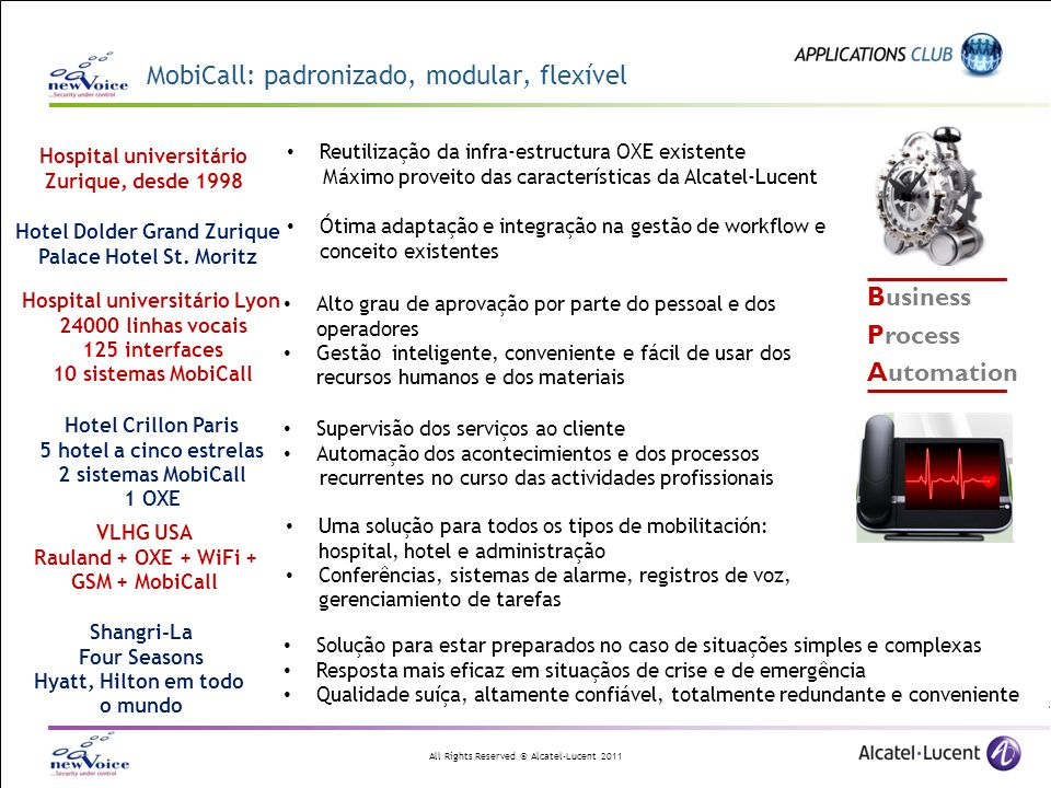 All Rights Reserved © Alcatel-Lucent 2011 Visão geral de MobiCall Entradas de alarme Receptor de alarmasAdministração Central de alarmes Administração web Planos de temp.Conferência Escalation Controle dos acessos Processing Pessoas grupos Relé e-mail XML http SMS, MMS, Pager Impressora, fax Pop-up de display web pop-up Alto-falante PDA / 3G Análise e estadísticas Gravação de voz DR-Link, IPC, BT, Etraly Base de dadosEstadísticas Monitoramento Video replay Sensores de contato Teclado interface web XML HTML Emergência 112 / 911 E-mail (SMTP) enfermeira, TMS Interfaces fogo, BMS Trap SNMP / IT Câmara de video DECT GSM / WIFI Web playback Exportação de dados e backup
