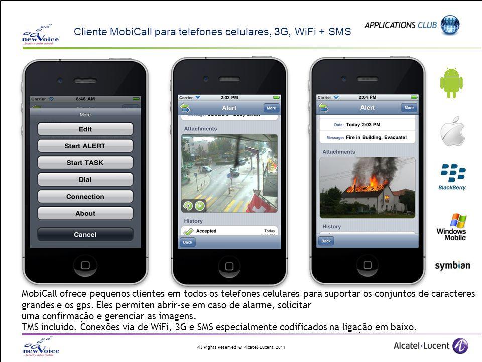 All Rights Reserved © Alcatel-Lucent 2011 Cliente MobiCall para telefones celulares, 3G, WiFi + SMS MobiCall ofrece pequenos clientes em todos os tele