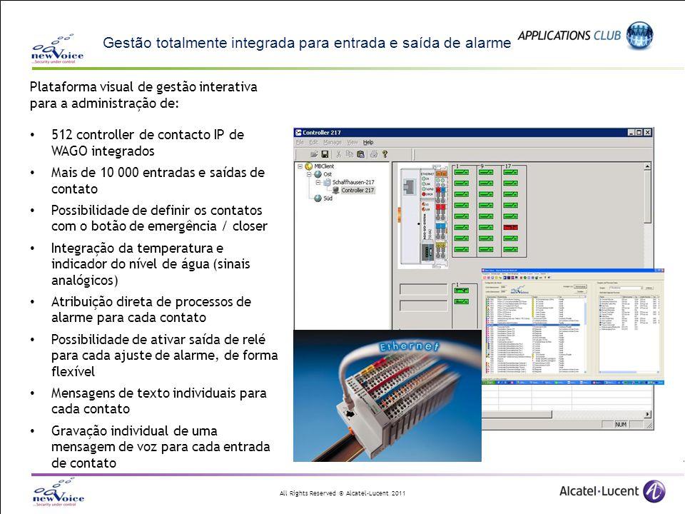 All Rights Reserved © Alcatel-Lucent 2011 Gestão totalmente integrada para entrada e saída de alarme Plataforma visual de gestão interativa para a adm