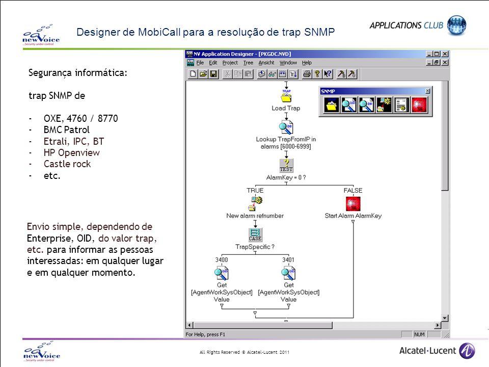 All Rights Reserved © Alcatel-Lucent 2011 Designer de MobiCall para a resolução de trap SNMP Envio simple, dependendo de Enterprise, OID, do valor tra