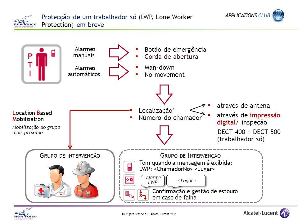 All Rights Reserved © Alcatel-Lucent 2011 Protecção de um trabalhador só (LWP, Lone Worker Protection) em breve Alarmes automáticos Alarmes manuais 