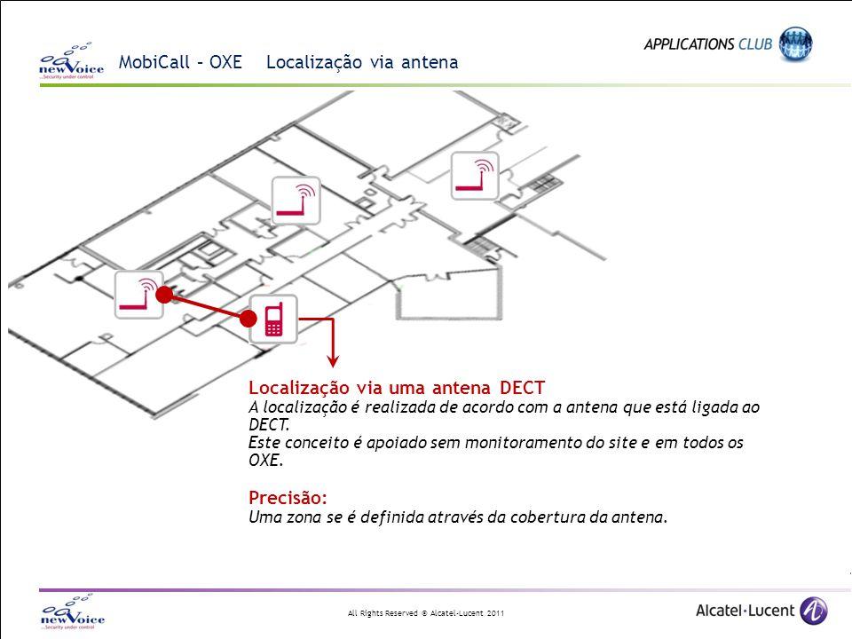 All Rights Reserved © Alcatel-Lucent 2011 MobiCall – OXE Localização via antena Localização via uma antena DECT A localização é realizada de acordo co