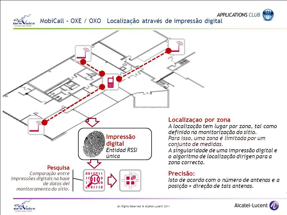 All Rights Reserved © Alcatel-Lucent 2011 MobiCall – OXE / OXO Localização através de impressão digital Localizaçao por zona A localização tem lugar p