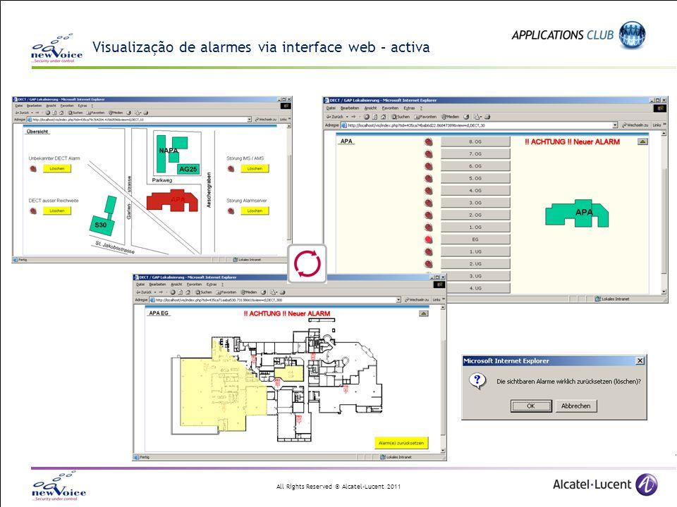 All Rights Reserved © Alcatel-Lucent 2011 Visualização de alarmes via interface web – activa