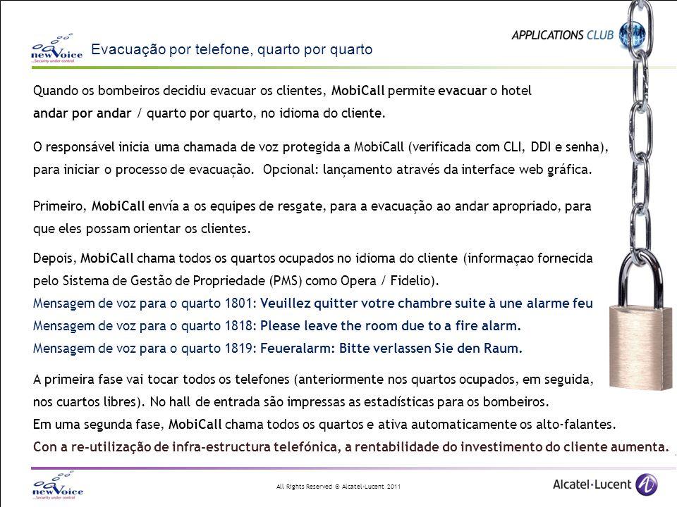 All Rights Reserved © Alcatel-Lucent 2011 Integração e flexibilidade TAE significa: Alarmas individuais para - grupos de telefones - grupos de zonas - grupos de teclas até chegar a - pessoas - zonas - teclas Configuração fácil