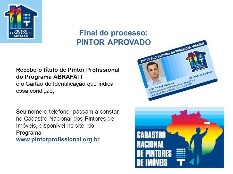 Recebe o título de Pintor Profissional do Programa ABRAFATI e o Cartão de Identificação que indica essa condição; Seu nome e telefone passam a constar