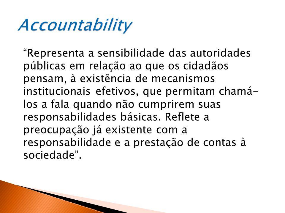 Representa a sensibilidade das autoridades públicas em relação ao que os cidadãos pensam, à existência de mecanismos institucionais efetivos, que permitam chamá- los a fala quando não cumprirem suas responsabilidades básicas.
