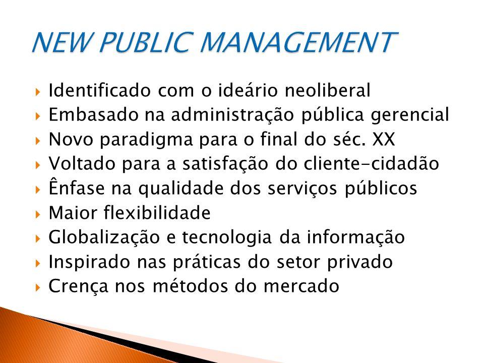  Identificado com o ideário neoliberal  Embasado na administração pública gerencial  Novo paradigma para o final do séc.