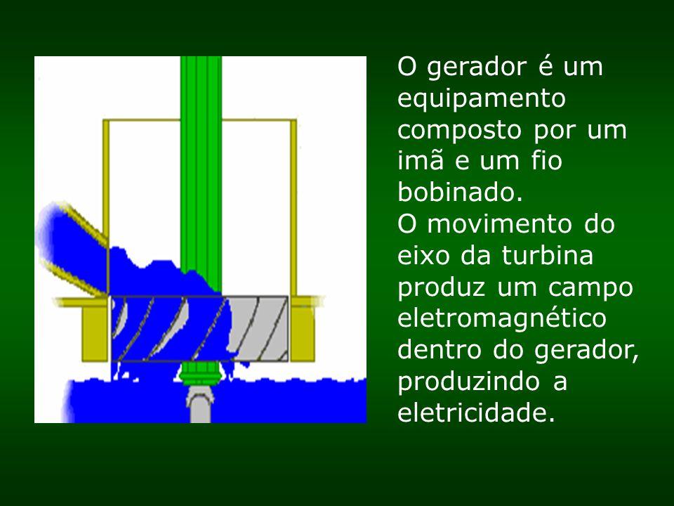 O gerador é um equipamento composto por um imã e um fio bobinado. O movimento do eixo da turbina produz um campo eletromagnético dentro do gerador, pr