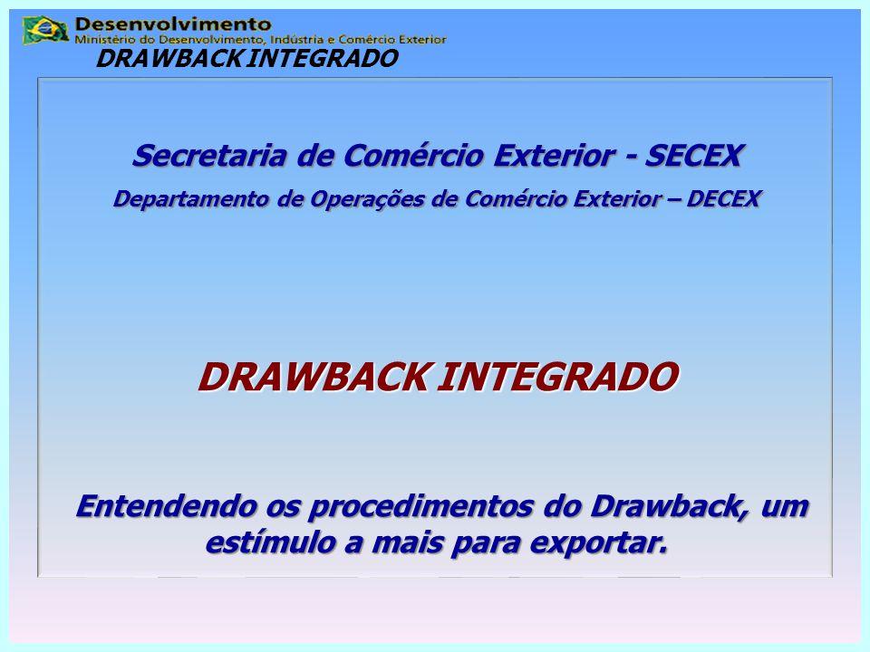 Secretaria de Comércio Exterior - SECEX Departamento de Operações de Comércio Exterior – DECEX DRAWBACK INTEGRADO Entendendo os procedimentos do Drawb