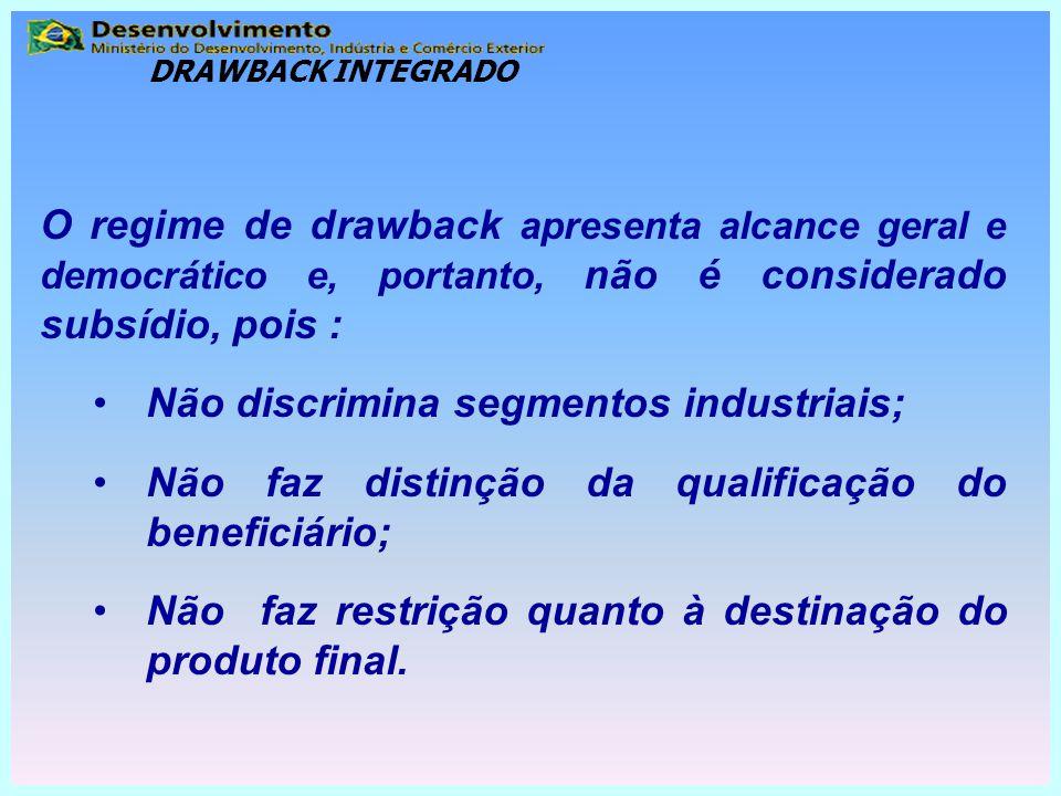 O regime de drawback apresenta alcance geral e democrático e, portanto, não é considerado subsídio, pois : Não discrimina segmentos industriais; Não f