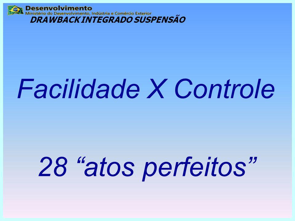 """Facilidade X Controle 28 """"atos perfeitos"""" DRAWBACK INTEGRADO SUSPENSÃO"""