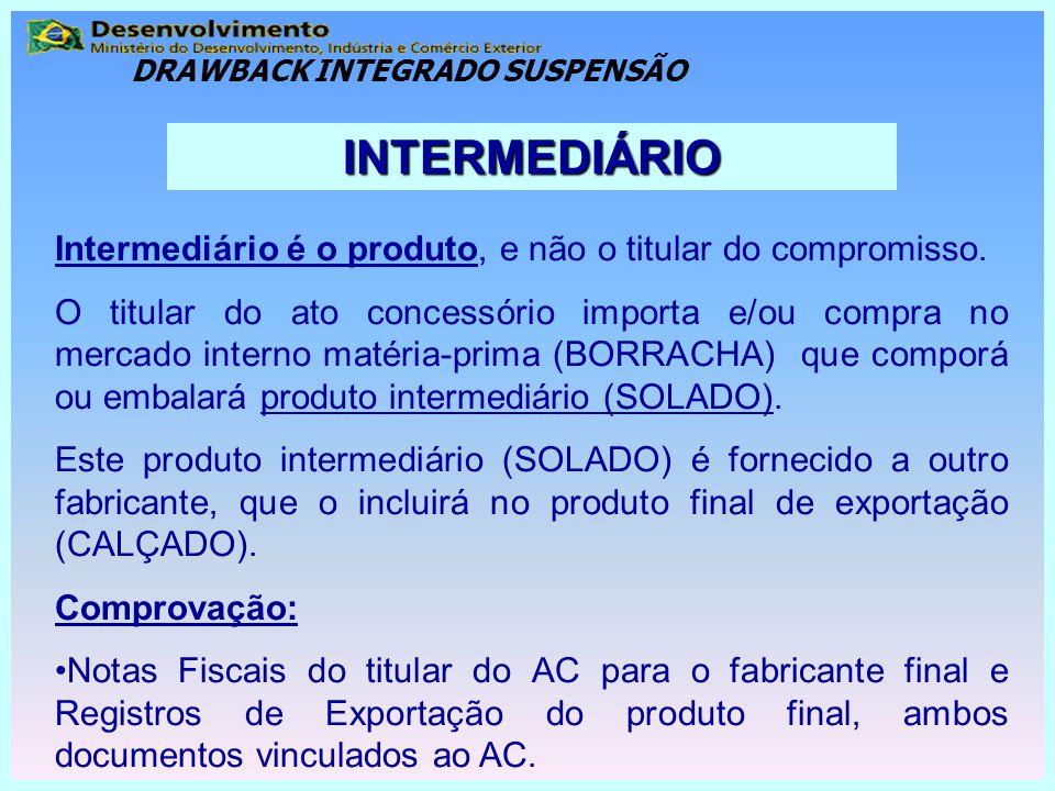 Intermediário é o produto, e não o titular do compromisso. O titular do ato concessório importa e/ou compra no mercado interno matéria-prima (BORRACHA