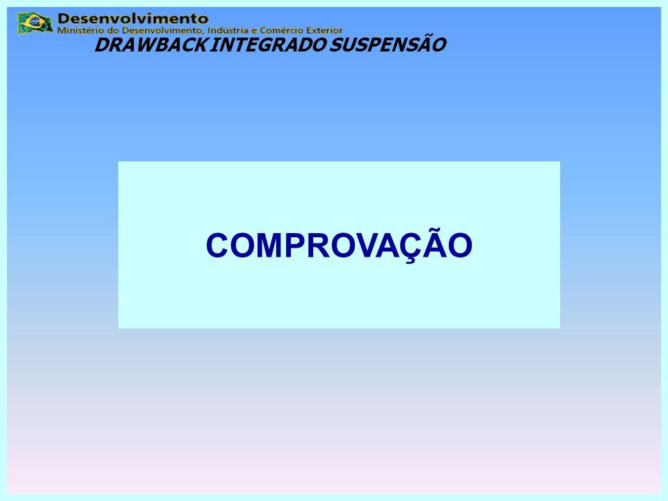 COMPROVAÇÃO DRAWBACK INTEGRADO SUSPENSÃO