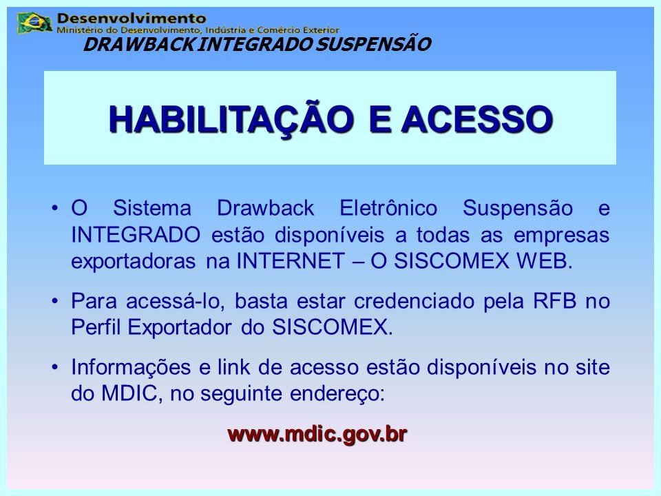 O Sistema Drawback Eletrônico Suspensão e INTEGRADO estão disponíveis a todas as empresas exportadoras na INTERNET – O SISCOMEX WEB. Para acessá-lo, b