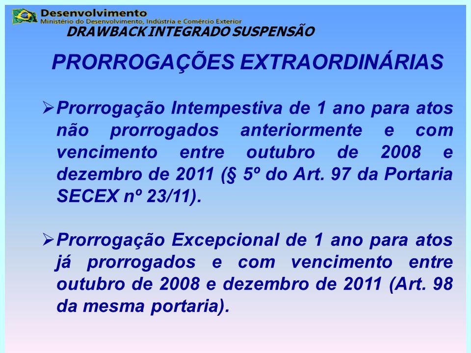 PRORROGAÇÕES EXTRAORDINÁRIAS  Prorrogação Intempestiva de 1 ano para atos não prorrogados anteriormente e com vencimento entre outubro de 2008 e deze