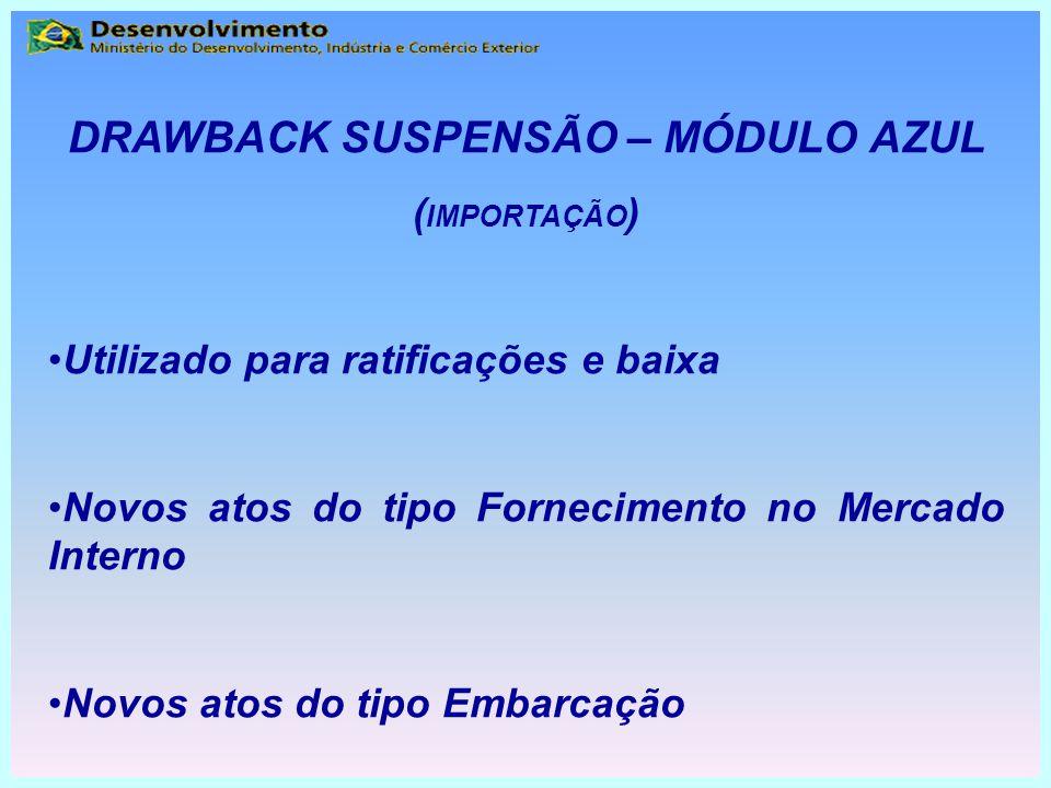 DRAWBACK SUSPENSÃO – MÓDULO AZUL ( IMPORTAÇÃO ) Utilizado para ratificações e baixa Novos atos do tipo Fornecimento no Mercado Interno Novos atos do t