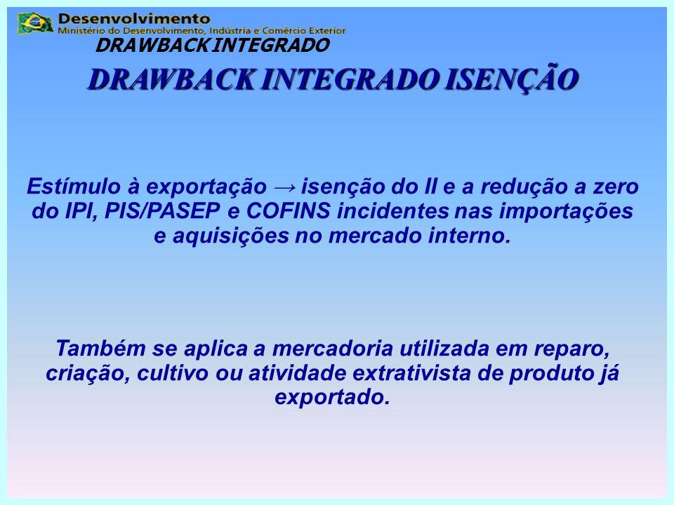 DRAWBACK INTEGRADO ISENÇÃO Estímulo à exportação → isenção do II e a redução a zero do IPI, PIS/PASEP e COFINS incidentes nas importações e aquisições