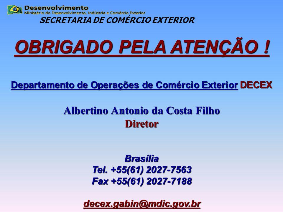 OBRIGADO PELA ATENÇÃO ! Departamento de Operações de Comércio Exterior DECEX Albertino Antonio da Costa Filho DiretorBrasília Tel. +55(61) 2027-7563 F