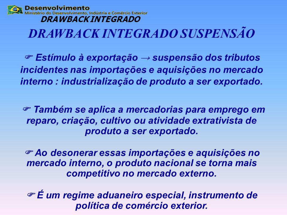 DRAWBACK INTEGRADO SUSPENSÃO  Estímulo à exportação → suspensão dos tributos incidentes nas importações e aquisições no mercado interno : industriali